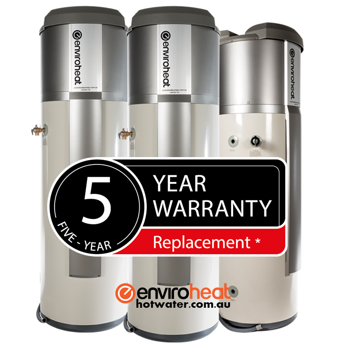5 year warranty on Enviroheat hot water systems