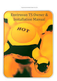 Envirosun TS Plus solar water heater information manuals